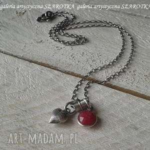 Malinowe love minimalistyczny naszyjnik z kwarcu i srebra