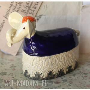 hand made ceramika słoń indyjski granatowy