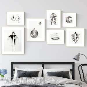 zestaw 7 grafik wykonanych ręcznie, do salonu, 2604938, obraz