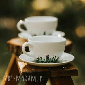 zestaw dwóch malowanych filiżanek do kawy i herbaty kwiecista łąka