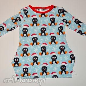 ręcznie robione świąteczne prezenty sukienka dla dziewczynki pingwinek