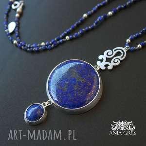 lapis lazuli african, naszyjnik, lapislazuli, srebrny, rozeta, aniagrys