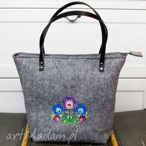 Torba , torebka filcowa, kwiaty łowickie folk, torba, torebka, kwiatyfolk