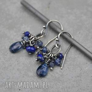 grey line project kianit, szafir i lapis lazuli kolczyki 157, srebro, kianit