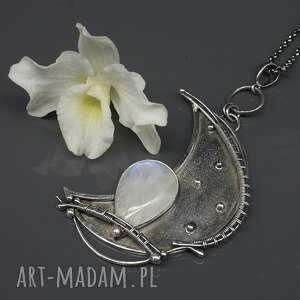 wisiorki surowy księżyc - wisior kashafn, księżyc, kamień księżycowy