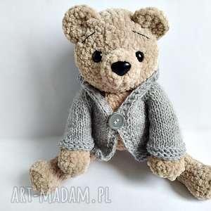 Pluszowy pan miś w szarym sweterku z kapturem - ,miś,misie,maskotki,przytulanka,sweterek,