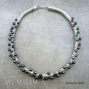 stalowe perły - naszyjnik lniany - perełki, klasyczne, eleganckie, kobiece