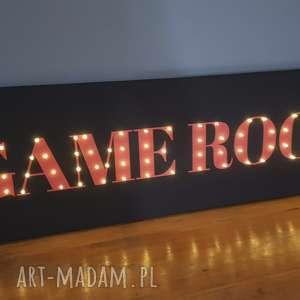 świecący napis game room obraz led prezent dla niego fana gier dekoracja pokoju