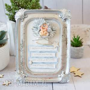 ramka z aniołkiem stróżem, modlitwa pamiątka narodzin, chrztu, roczku, urodzin
