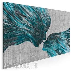 obraz na płótnie - twarze pocałunek turkus 120x80 cm 13507