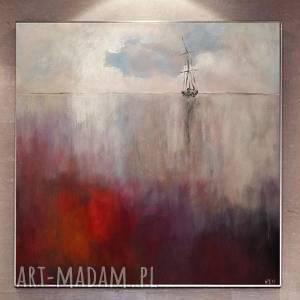 morze w kolorach bordo -obraz akrylowy formatu 40/40 cm, obraz, morze, akryl
