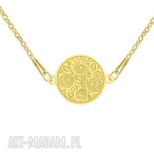 naszyjnik z wzorem ludowym - folk - pozłacane, wzór, srebro, 925