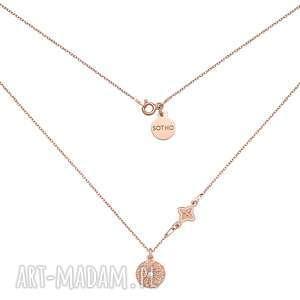 naszyjnik z różowego złota z rozetką i medalionem - łańcuszek