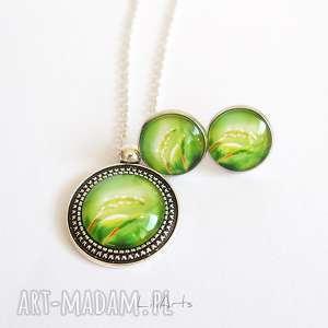 naszyjnik i kolczyki - komplet zielony, liście