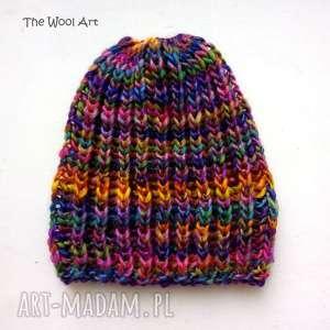 ciepła czapka beanie, czapka-na-drutach, kolorowa-czapka,