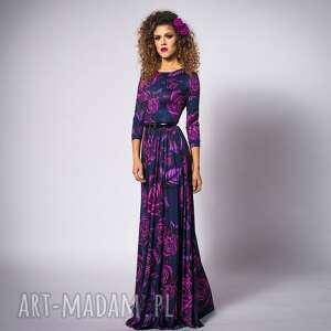 helena - magic rose, maxi, elegancka, długa, wieczorowa sukienki