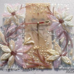Artystyczna kompozycja ze szkła - zegar BAJKA , szklo, zegary, kwiaty, dom, fusing