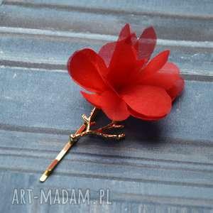 CZERWONY KWIAT, czerwony, kwiat, spinka, złoto