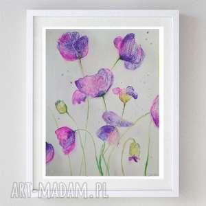 różowo-fioletowe kwiaty -akwarela formatu 18/24