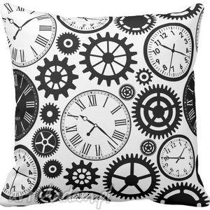 poszewka na poduszkę dziecięca czarno biała zegary 3029 - poduszka, poszewka