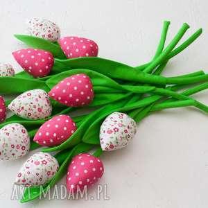 hand-made dekoracje tulipany z materiału bukiet tulipanów róż