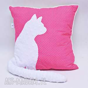 Poduszka z kotem i ogonem 3D biały kot na różowym, poduszka, kot, minky, ogonek, 3d