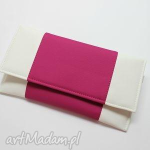 hand-made kopertówka - biała i środek fuksja