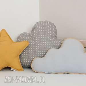 Zestaw 3 Poduch Musztardowo-Szary, poduszka-chmurka, poduszkagwiazdka