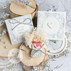 anioł z intencją. kartka oraz pudełeczko. personalizowana treść