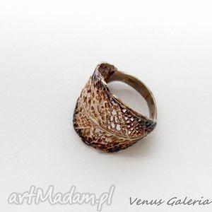 ręcznie wykonane pierścionki pierścionek srebrny - liściasty