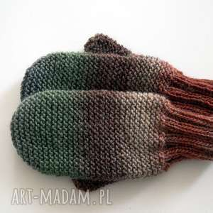 Wełniane rękawiczki, rękawice, dziergane,