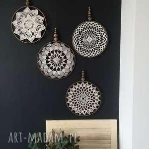 dekoracje 1 x dekoracja ścienna, makrama, łapacz, koronka, koronkowa, serwetka