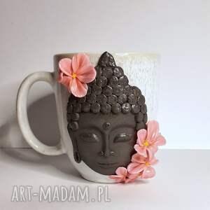 ceramika kubek budda, buddyzm, kubek, kawa herbata, kwiaty delikatne