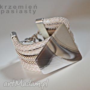 wężowa bransoletka z krzemieniem pasiastym, wężowa, elegancja, krzemień