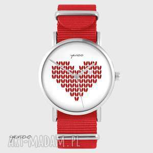 hand-made zegarki zegarek, bransoletka - serce dziergane czerwony, nato