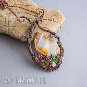 Prezent Naszyjnik inspirowany naturą z plastrem agatu, naszyjnik, natura, las
