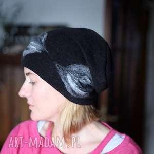 czapka wełniana damska czarna - wełna, czapka, zima, boho, etno, łezki