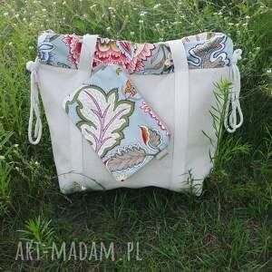 Płócienna shopperbag worek kwiaty ornament saszetka, torba, shopperbag, bawełna