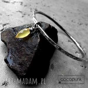 bransoleta- srebro i chalcedon mango, srebrna bransoletka, okrągła bransoletka