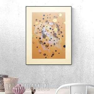 oryginalna abstrakcja, nowoczesna dekoracja do pokoju, złoto grafika na ścianę