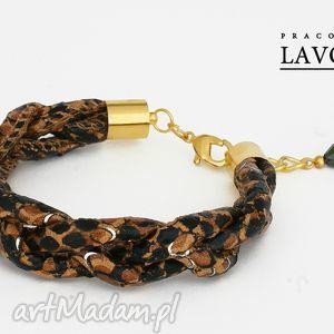 brązowy warkocz z motywem węża, warkocz, wąż, bransoleta, złoto