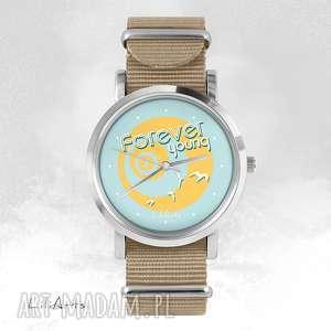 Prezent Zegarek, bransoletka - Forever young beżowy, nato, zegarek,