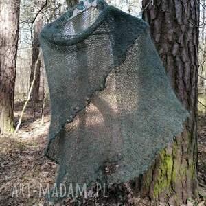 chustki i apaszki leśne zielenie moherowa chusta, rękodzieło, chusta na drutach