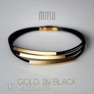Prezent Bransoleta Gold in Black, elegancka, minimalistyczna, prosta, nowoczesna