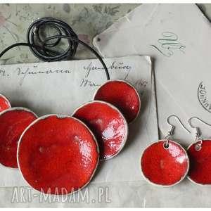 komplet etno karminowy naszyjnik kolczyki, karminowa biżuteria, naszyjnik ceramika