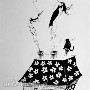 dekoracje lecimy rysunek piórkiem artystki plastyka adriany laube - kobiety, kot