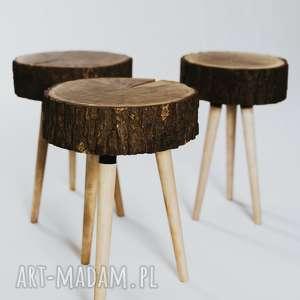 Stołek z plastra drewna, dębowy/sprzedany, stołekdębowy, stołekzplastra