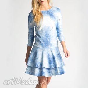 święta prezent, sukienka lady mini sky, niebo, denim, jeans, falbana, marmurkowa