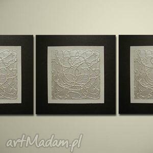 nowoczesny 17 - 90x30cm ręcznie malowany, obraz, nowoczesny, srebrny