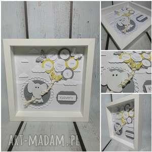Metryczka - Szaro-zółto motylkowa, narodziny, urodziny, chrzest, słonik,